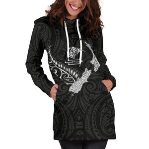New Zealand Heart Women's Hoodie Dress - Map Kiwi mix Silver Fern White K4 - 1st New Zealand