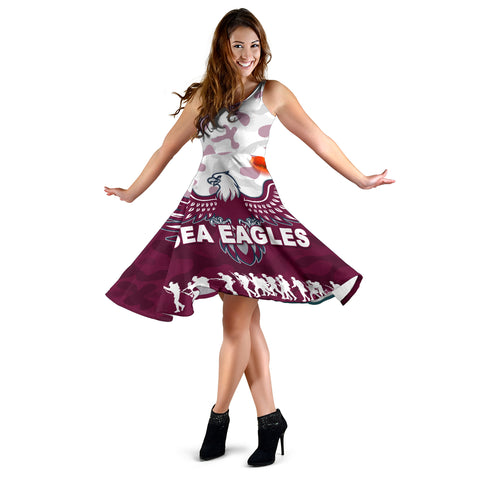 Manly Warringah Women's Dress Sea Eagles Anzac Day Camouflage Vibes K8