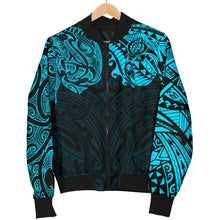 Load image into Gallery viewer, New Zealand Women's Bomber Jacket , Maori Polynesian Tattoo Blue TH4 - 1st New Zealand