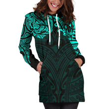 Load image into Gallery viewer, New Zealand Women's Hoodie Dress, Maori Polynesian Tattoo Turquoise TH4 - 1st New Zealand