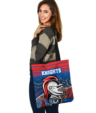 Knights Tote Bag Newcastle Aboriginal Horizontal Style TH12