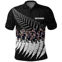 Load image into Gallery viewer, New Zealand Haka Rugby Polo Shirt - Best Silver Fern Black K4