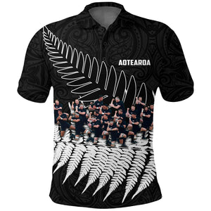 New Zealand Haka Rugby Polo Shirt - Best Silver Fern Black K4