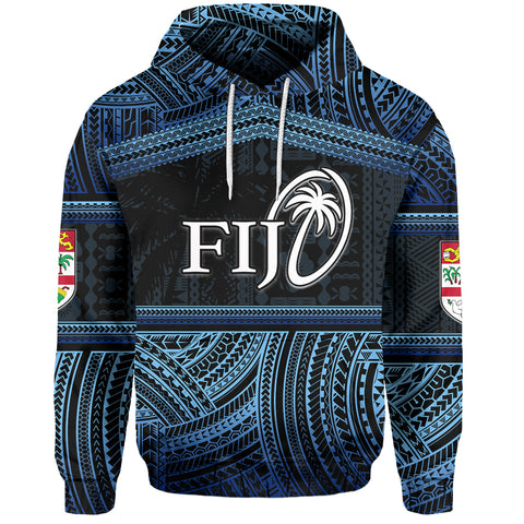 (Custom Personalised)Fiji Rugby Polynesian Patterns Hoodie Blue