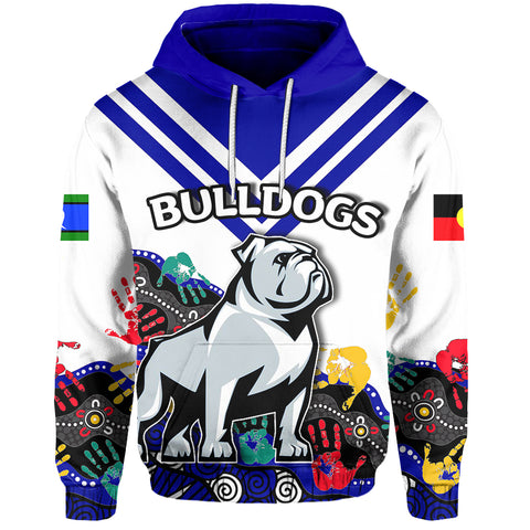 (Custom Personalised) Naidoc Bulldogs All Over Hoodie Aboriginal Hand