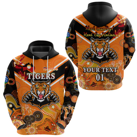 (Custom Personalised) Wests Hoodie Tigers Indigenous Naidoc Heal Country! Heal Our Nation - Orange NO.1, Custom Text And Number