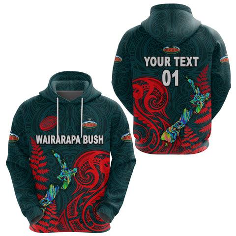 (Custom Personalised) Maori Wairarapa Bush Rugby Hoodie New Zealand Silver Fern, Custom Text And Number
