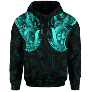 Maori Ta Moko Hoodie New Zealand Turquoise K4 - 1st New Zealand