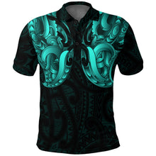 Load image into Gallery viewer, Maori Ta Moko Polo Shirt New Zealand Turquoise K4 - 1st New Zealand