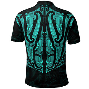 Maori Ta Moko Polo Shirt New Zealand Turquoise K4 - 1st New Zealand