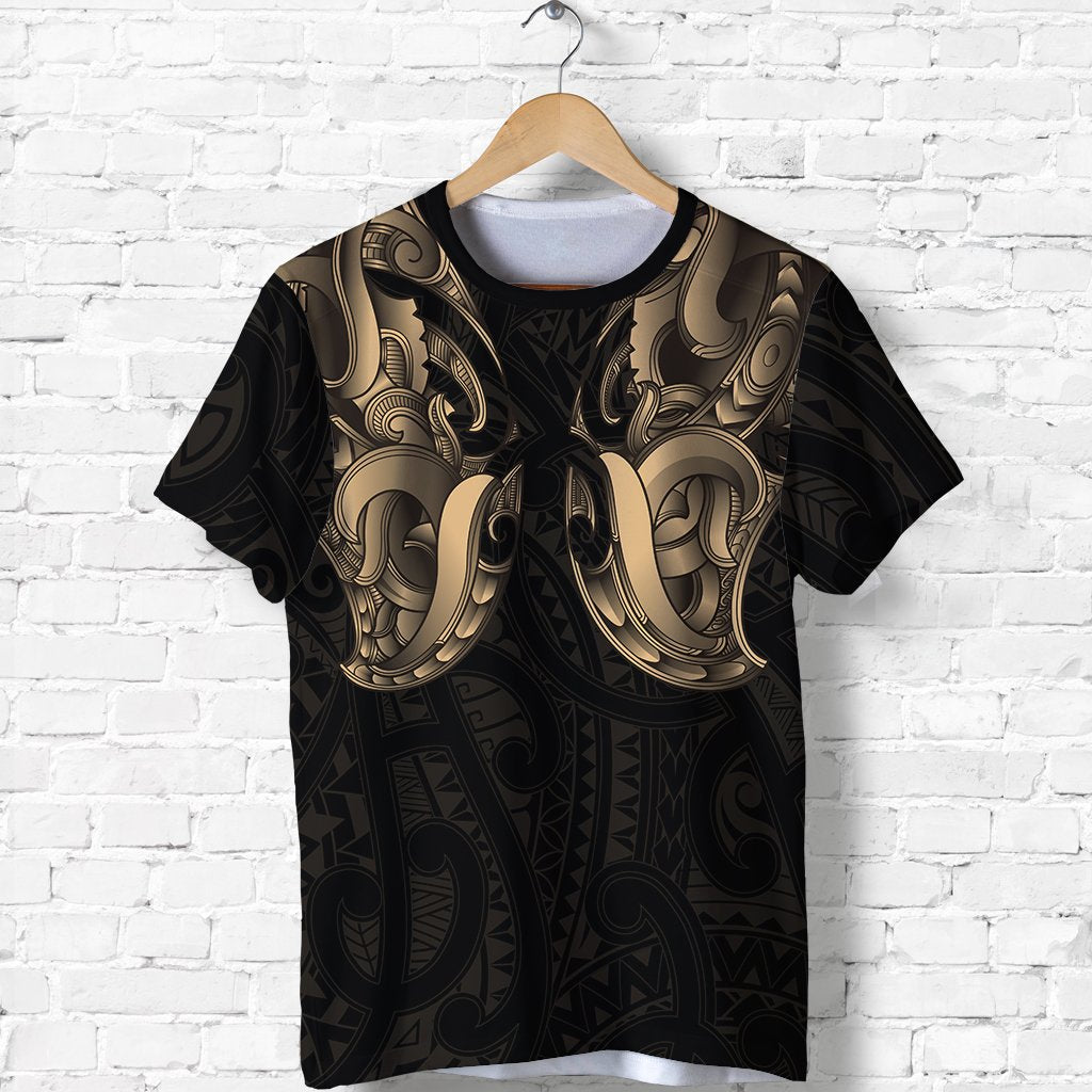 Maori Ta Moko T Shirt New Zealand Gold K4 - 1st New Zealand