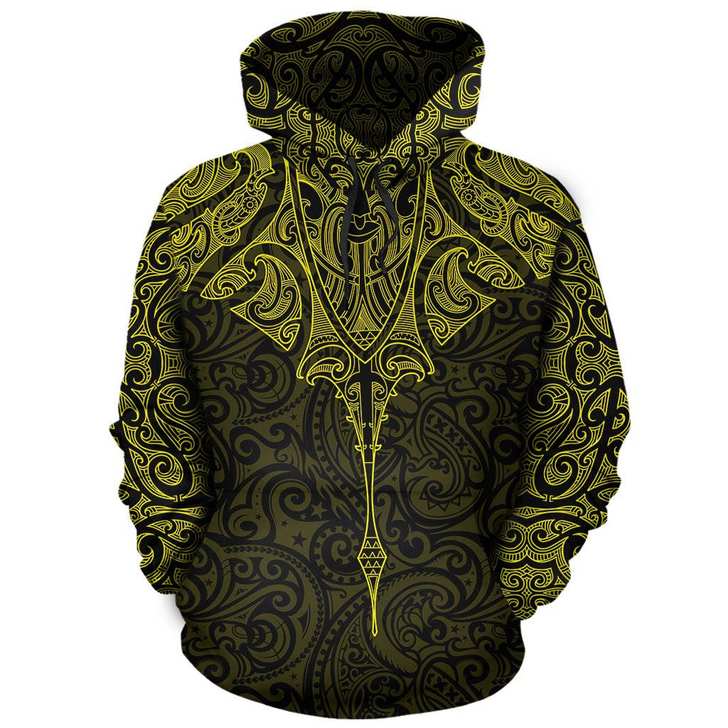 New Zealand Hoodie Manta Maori Ta Moko Yellow TH5 - 1st New Zealand