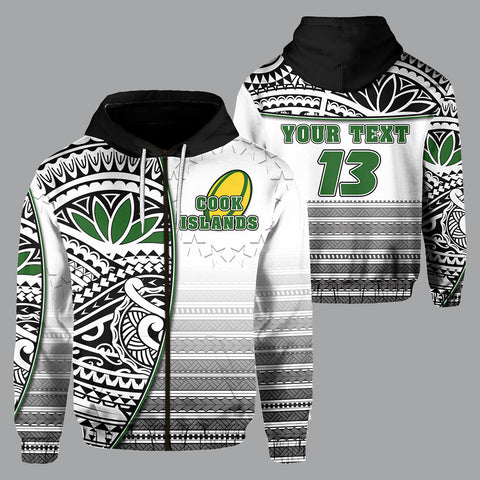 (Custom Personalised) Cook Islands Zip Hoodie Rugby Impressive Version Black  - Custom Text and Number | Rugbylife.co