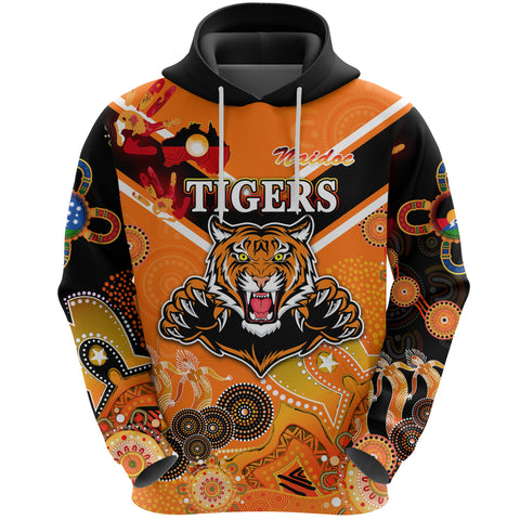 (Custom Personalised) Wests Hoodie Tigers Indigenous Naidoc Heal Country! Heal Our Nation - Orange NO.1, Custom Text And Number K8