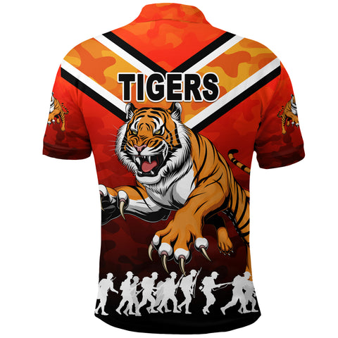 Wests Polo Shirt Tigers Anzac Vibes K8