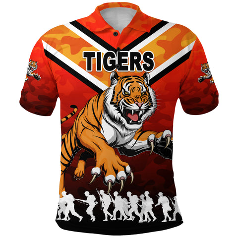 Wests Polo Shirt Tigers Anzac Vibes