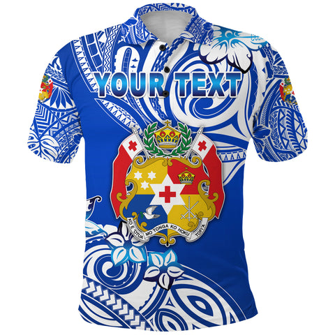 (Custom Personalised) Mate Ma'a Tonga Rugby Polo Shirt Polynesian Unique Vibes - Blue