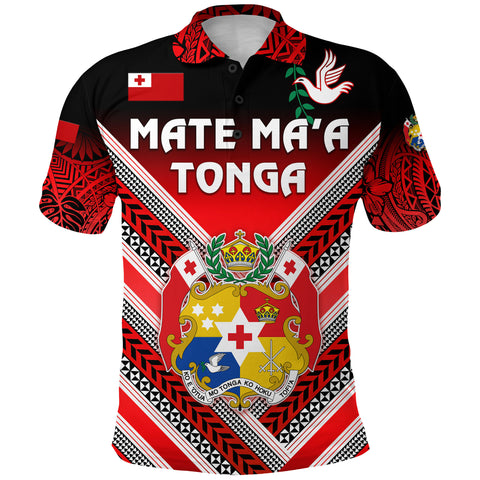 (Custom Personalised) Mate Ma'a Tonga Rugby Polo Shirt Polynesian Creative Style, Custom Text and Number