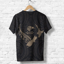 Load image into Gallery viewer, New Zealand Heart T Shirt  - Map Kiwi mix Silver Fern Gold K4 - 1st New Zealand