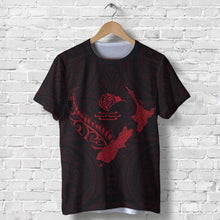 Load image into Gallery viewer, New Zealand Heart T Shirt  - Map Kiwi mix Silver Fern Red K4 - 1st New Zealand