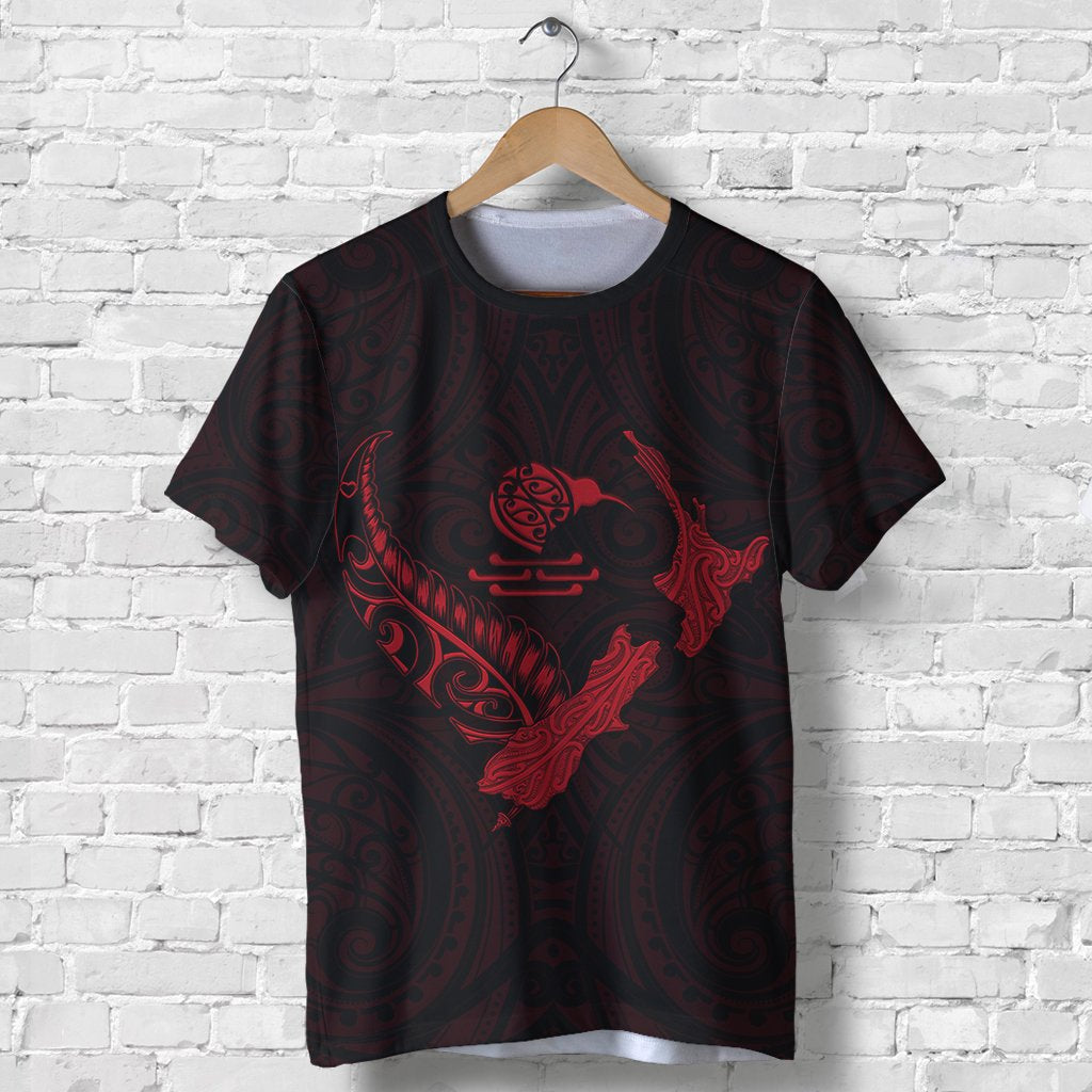 New Zealand Heart T Shirt  - Map Kiwi mix Silver Fern Red K4 - 1st New Zealand