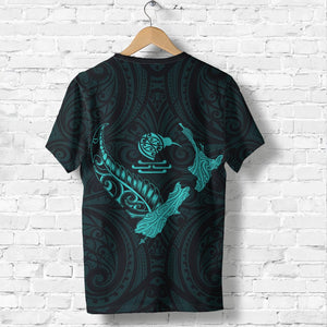 New Zealand Heart T Shirt  - Map Kiwi mix Silver Fern Turquoise K4 - 1st New Zealand