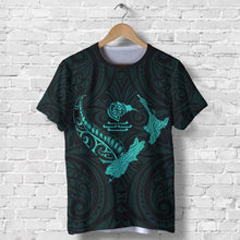 Load image into Gallery viewer, New Zealand Heart T Shirt  - Map Kiwi mix Silver Fern Turquoise K4 - 1st New Zealand
