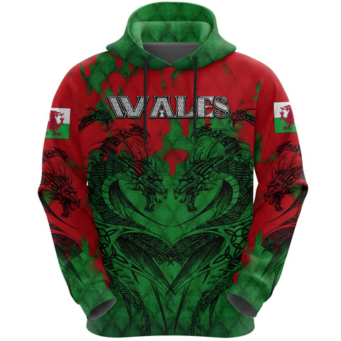 Wales Hoodie Dragon Tattoo Celtic  | Clothing