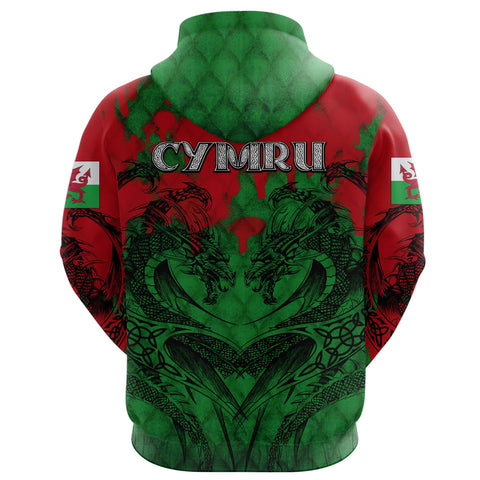 Image of Wales Hoodie Dragon Tattoo Celtic K4