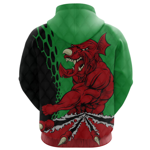 Wales Rugby Hoodie Welsh Dragon back - Wales Rugby Jersey