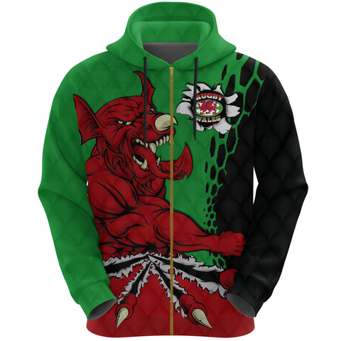 Wales Rugby Zip Hoodie Welsh Dragon front jersey