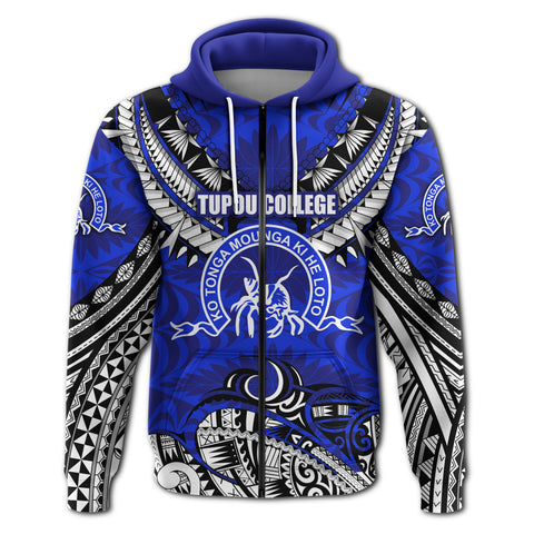 Image of (Custom) Kolisi Ko Tupou College Tonga Zip Hoodie Polynesian Version Special 2 | Rugbylife.co