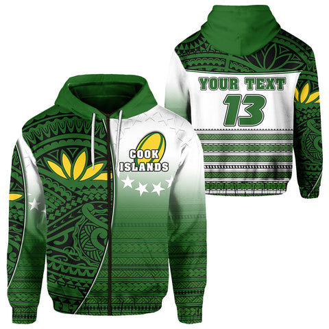(Custom Personalised) Cook Islands Zip Hoodie Rugby Impressive Version - Custom Text and Number | Rugbylife.co
