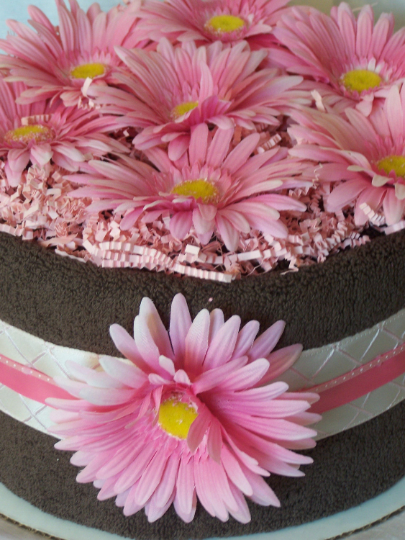 Chocolate Towel Cake (1 Tier) with Hot Pink Daisies