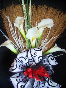 Black and White Damask Wedding Broom with Red accents
