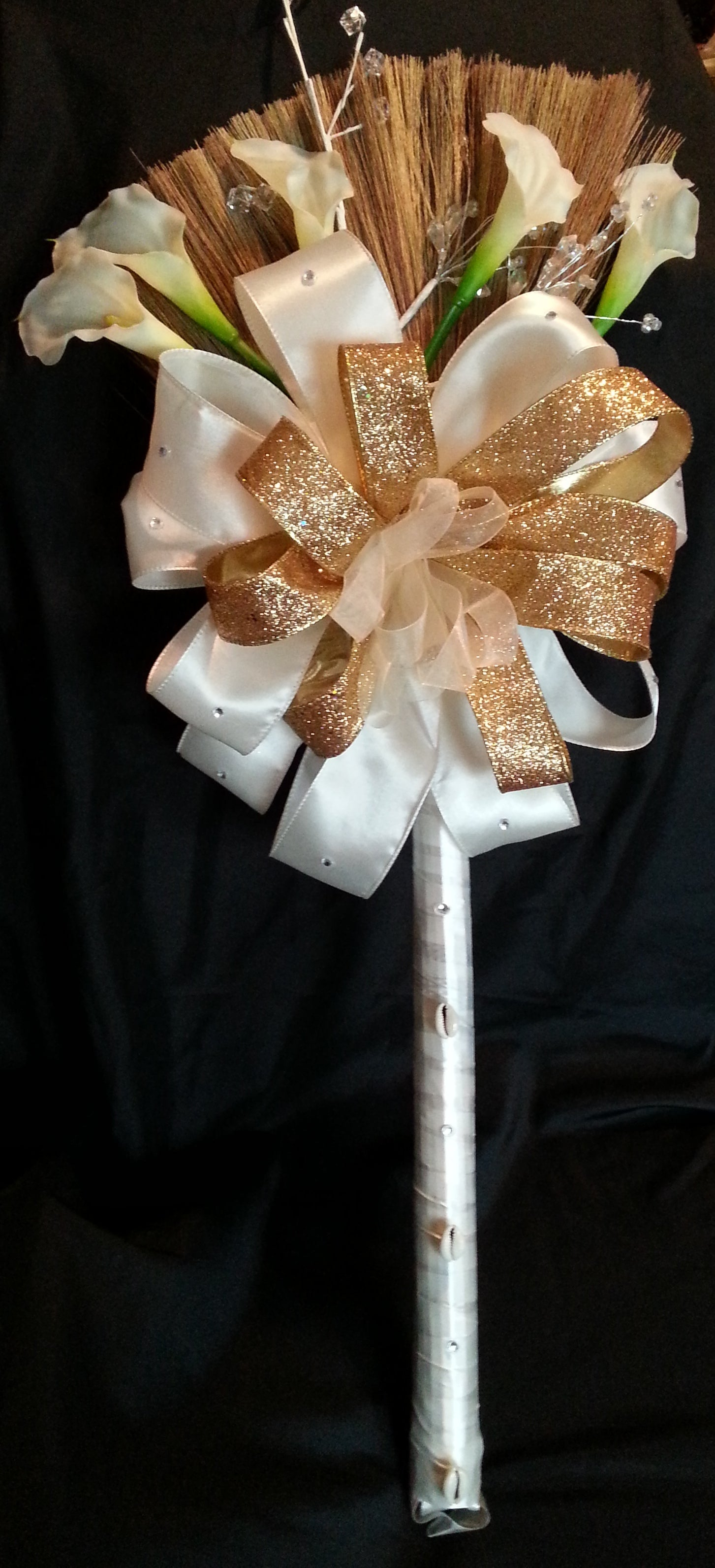 Ivory and Gold Wedding Broom