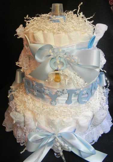 """Peyton"" - Personalized Diaper Cake (3 Tier)"