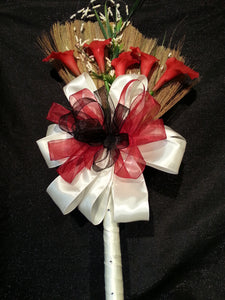 Red Romance Wedding Broom (Calla Lily)