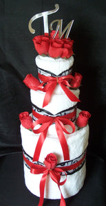 Red, Black & White Towel Cake (3 Tier)