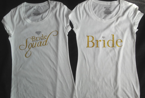 Silver & Gold Bling Bride Squad T-Shirt