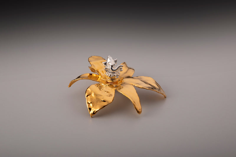 24k GOLD ORCHID FLOWER WITH SILVER GANESHA