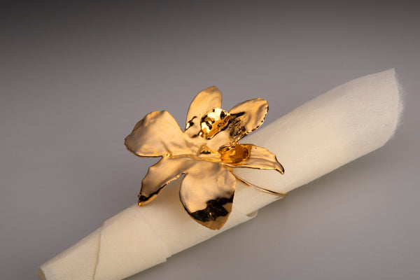 24k GOLD ORCHID NAPKIN RING