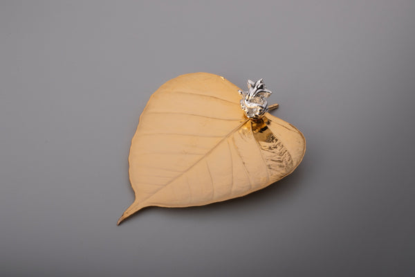 24k GOLD PEEPAL LEAF WITH SILVER GANESHA