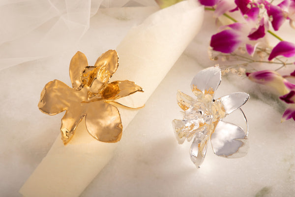 SILVER ORCHID NAPKIN RING