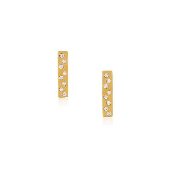 Pave-set Bar Earrings - Gold