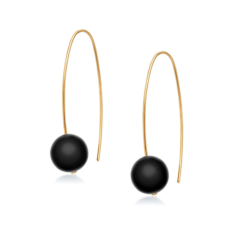 Jewel Globe Hoops - Black Onyx