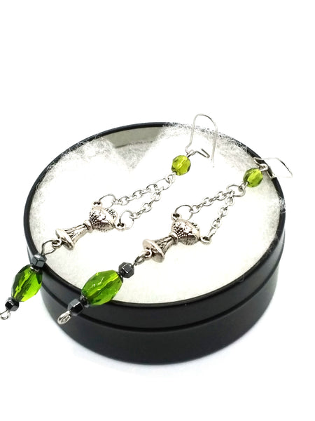 Goth Earrings - Green Fairy Chalice