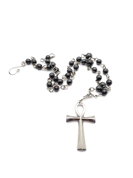 Goth Necklace - Steel Ankh