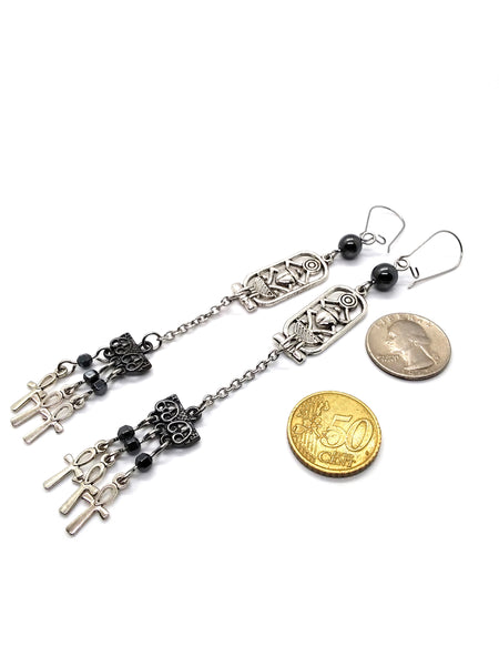 Goth Earrings - Ankh Tassle