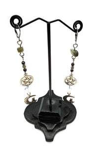 Goth Earrings - Cat and Moon